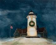 Nobska Lighthouse at Christmas, oil on panel,8 x 10 in. , $325