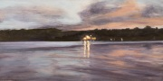 Lights on the Lake, oil on panel, 6 x 12 in, $350.00
