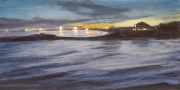 Lights at the Beach, oil on panel, 6 x 12 in.,$350