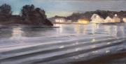 Water and Lights at Night, oil on panel, 6 x 12 in.,$350