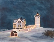 Nubble Lighthouse at Christmas, oil on panel, 11 x 14 in., $450.00