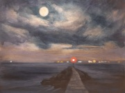 Full Moon and Distant Lights, oil on panel, 12 x 16 in., $550.00