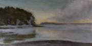 Foggy Water Little Bay, Durham, NH., oil on canvas, 10 x 20 in., $550 .00