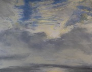 Foggy Crossing, oil on panel, 11 x 14 in., $375