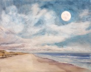 Full Moon After a Grey Day, oil on panel, 11 x 14 in., $375.00