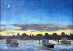 Evening Boats, oil on panel, 7x5, framed, $185