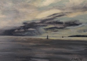 View From the Ferry- Rainy Horizon, oil on panel, 7x5, framed, $185