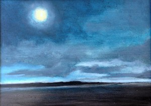 View From the Ferry- Moonlit, oil on panel, 7x5, framed, $185