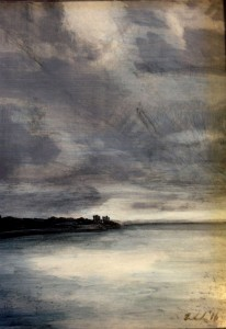 View From the Ferry- Grey, oil on panel, 5x7, framed, $185