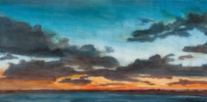 "Sunset Ends ove Martha's Vineyard, oil on canvas, 20x10"", $600"