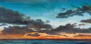 "Sunset Ends ove Martha's Vineyard, oil on canvas, 20x10"", $600"